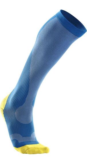 2XU M's Compression Performance Run Sock Vibrant Blue/Canary Yellow